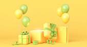 Yellow and green composition with gift boxes, balloons and shopping bag. 3d rendering