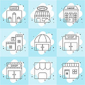 Various building icons related to stores and restaurants.