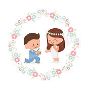 cute wedding couple in flower wreath flat style for valentine's day or wedding card eps10 vectors illustration