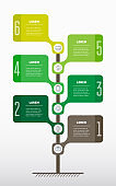 Vertical Timeline or infographics. Tree of The development and growth of the green energy industry. Time line of Social tendencies. Concept of building a Business with 6 steps, options or processes.