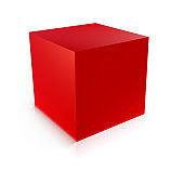 Red cube. Geometric icon isolated on white background. Symbol of stability. Vector 3d illustration.