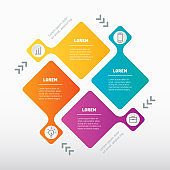 Vector infographic of technology cycle or education process with four steps. Template of Info graphic with 4 parts or processes.