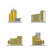 Set Of Modern City Design Template. Skyline Design Vector Illustration