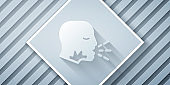 Paper cut Man coughing icon isolated on grey background. Viral infection, influenza, flu, cold symptom. Tuberculosis, mumps, whooping cough. Paper art style. Vector.