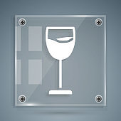 White Wine glass icon isolated on grey background. Wineglass sign. Square glass panels. Vector