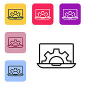 Black line Software, web development, programming concept icon isolated on white background. Programming language and program code on screen laptop. Set icons in color square buttons. Vector