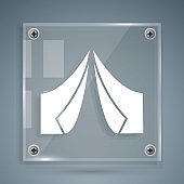 White Tourist tent icon isolated on grey background. Camping symbol. Square glass panels. Vector