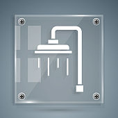 White Shower head with water drops flowing icon isolated on grey background. Square glass panels. Vector