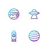 Set line Planet Venus, Rocket ship, and UFO flying spaceship. Gradient color icons. Vector