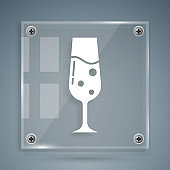 White Glass of champagne icon isolated on grey background. Square glass panels. Vector