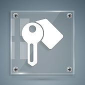 White Hotel door lock key icon isolated on grey background. Square glass panels. Vector