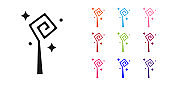 Black Magic staff icon isolated on white background. Magic wand, scepter, stick, rod. Set icons colorful. Vector