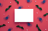 Halloween invitation card mockup with bats and spiders background in 3D rendering. Happy Halloween party blank flyer template