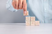 Wood block arrangement, business service concept to success, business strategy planning for victory in the market.