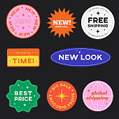 Set of Retro Shopping stickers. Cute Sale label badges. Trendy Free Shipping, New Look, Big Sale, Best Price Banners Pack Vector design.