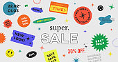 Special Offer Super Sale Banner Vector Design. Hipster background with promo label stickers.