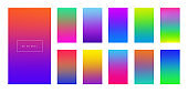 Modern screen vector design for mobile app. Bright colorful gradient backgrounds. Light color backdrops for ui. Blurred colored web interface vector templates.