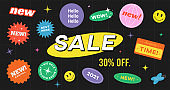 Special Offer Sale Banner Vector Design. Hipster background with promo label stickers.