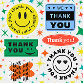 Set of Thank You cool trendy stikers vector design. Thanksgiving abstract background.