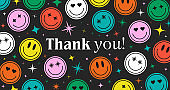 Thank You Abstract Hipster Cool Trendy Background With Retro Stickers Vector Design.