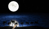 Full moon night, many stars fill the sky. A wooden bridge extends down to the sea or the pier, with coconut trees along the way. Romantic scene by the sea on a full moon wooden bridge. 3D rendering.