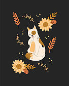 Cute cat washing, kawaii kitten with beauty flowers and plants