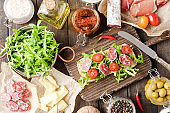 Rustic sandwich preparation table. Top view