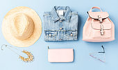 Summer collection of female clothes and accessories