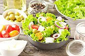 Food background with healthy salad. Close up