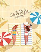 Vactor illustration of people on summer beaches.