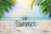 Hello Summer. Sandy beach with palms near ocean on sunny day