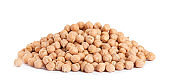 Pile of raw chickpeas on white background