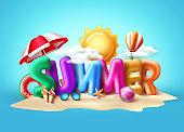 Summer 3d text vector banner design. Summer balloon text with colorful beach elements
