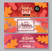 Autumn sale vector banner set. Fall season shopping discount collection with maple and oak leaves design element