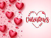 Happy valentines day vector template design. Valentines day greeting text typography