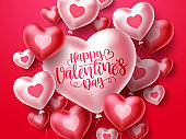 Happy valentines day with heart balloons vector background template.
