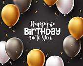 Happy birthday vector background design. Birthday greeting text in in black space with balloons