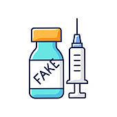 Fake vaccine RGB color icon