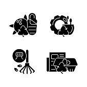 Processing recycled material black glyph icons set on white space