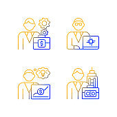 Senior executive roles gradient linear vector icons set