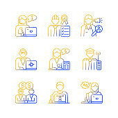 Employees team gradient linear vector icons set