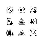 Fire safety guidelines black linear icons set