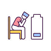 Stressed medical workers RGB color icon