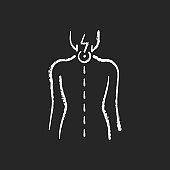 Neck pain chalk white icon on black background