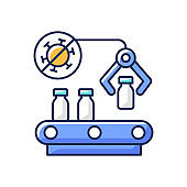Vaccine manufacturer RGB color icon