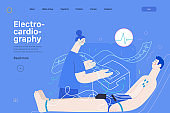ECG electrocardiography - medical tests web template