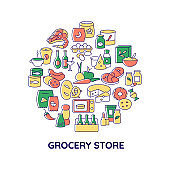Grocery products abstract color concept layout with headline