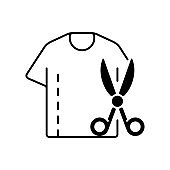Resizing clothes black linear icon
