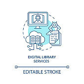 Digital library services concept icon