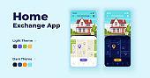 Home exchange cartoon smartphone interface vector templates set